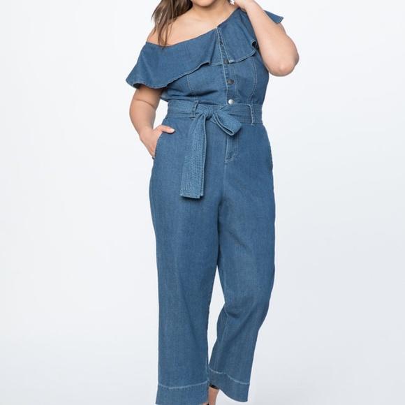 9200507cc567 Eloquii Pants - Plus Size One Shoulder Denim Jumpsuit